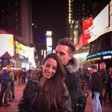 Christian Gálvez junto a su mujer Almudena Cid en Nueva York