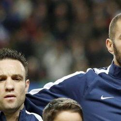 Karim Benzema y Mathieu Valbuena en un partido de Francia en 2014