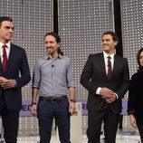 Pedro Sánchez, Pablo Iglesias, Albert Rivera y Soraya Sáenz de Santamaría en el debate a 4 de Atresmedia