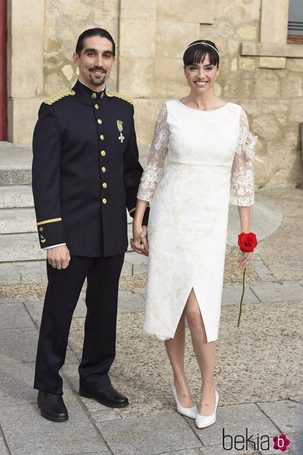 Beatriz Rico y Rubén Ramírez el día de su boda