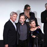 Harrison Ford, Carrie Fisher y Mark Hamill en la premiere de 'Star Wars: El Despertar de la Fuerza' en Los Ángeles