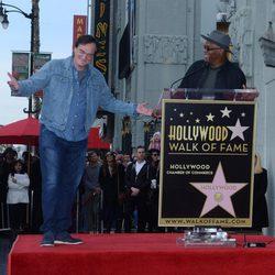 Quentin Tarantino y Samuel L.Jackson en el Paseo de la Fama de Hollywood