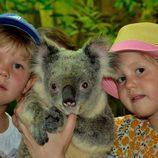 Los Príncipes Vicente y Josefina de Dinamarca en su quinto cumpleaños con un koala