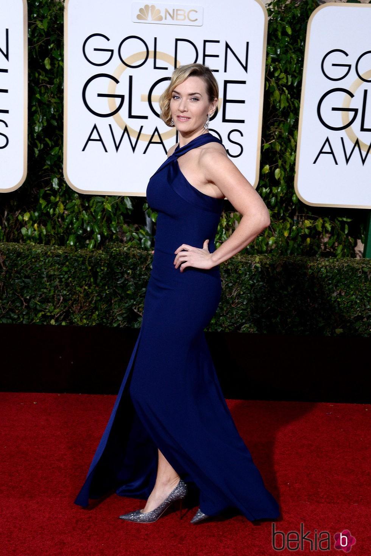 Kate Winslet en la alfombra roja de los Globos de Oro 2016