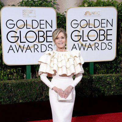 Jane Fonda en la alfombra roja de los Globos de Oro 2016