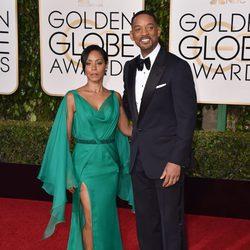 Will Smith y Jada Pinkett Smith en la alfombra roja de los Globos de Oro 2016
