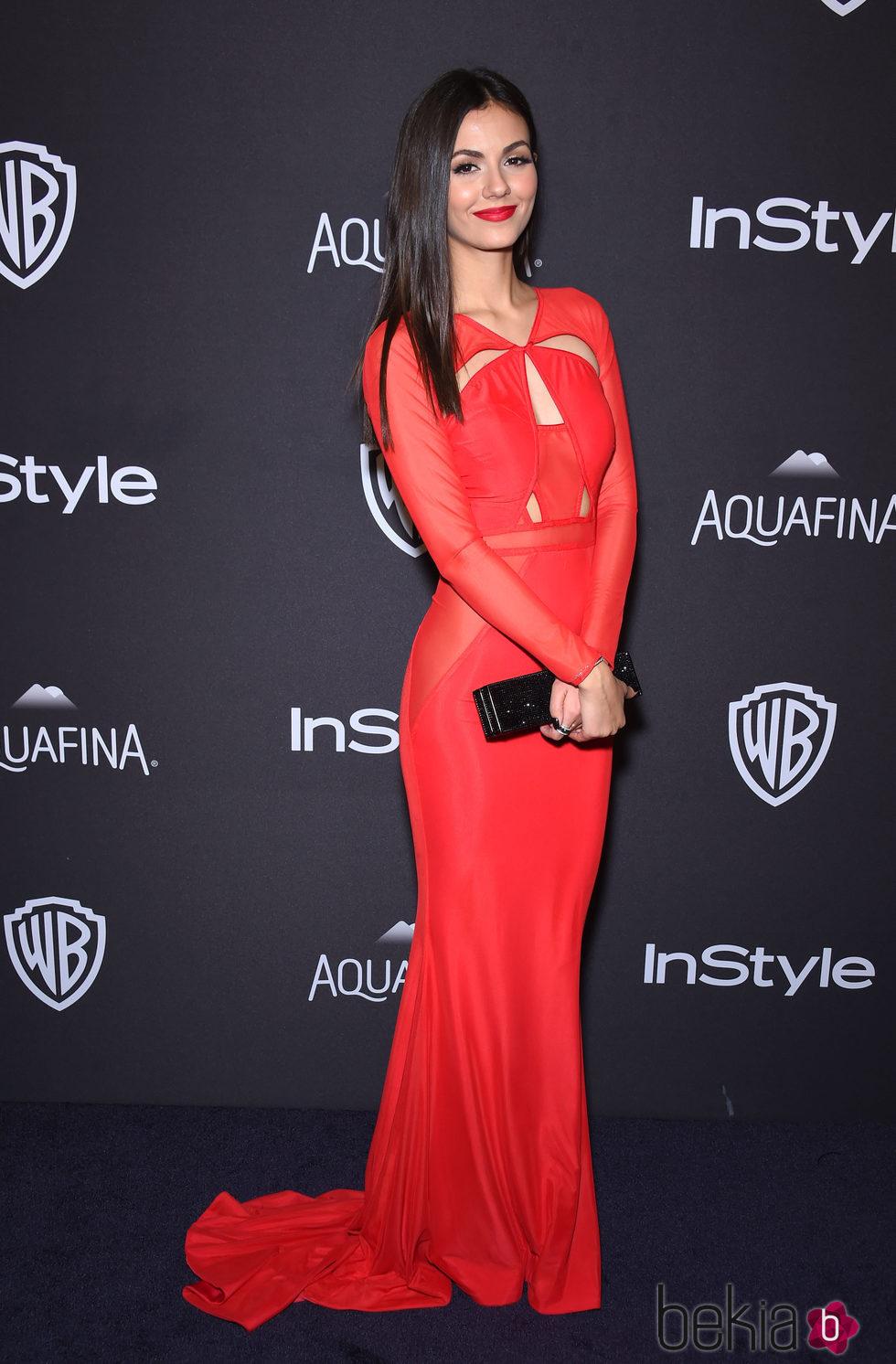 Victoria Justice en la fiesta de InStyle tras la entrega de los Globos de Oro 2016