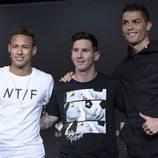 Neymar, Leo Messi y Cristiano Ronaldo en el Balón de Oro 2015