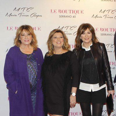 Mila Ximénez, Terelu Campos y Gema López en la presentación de la colección de zapatos de María Teresa Campos