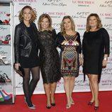 María Teresa Campos con Rocio Carrasco, Terelu Campos y Carmen Borrego en la presentación de su colección de zapatos