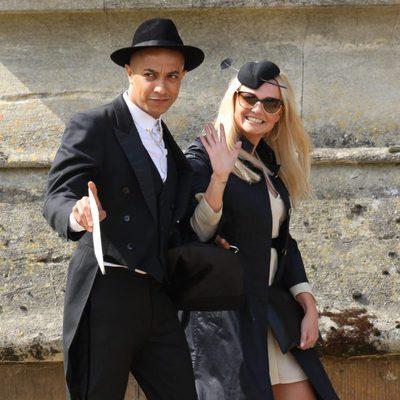 Emma Bunton y su novio Jade Jones en la boda de Geri Haliwell