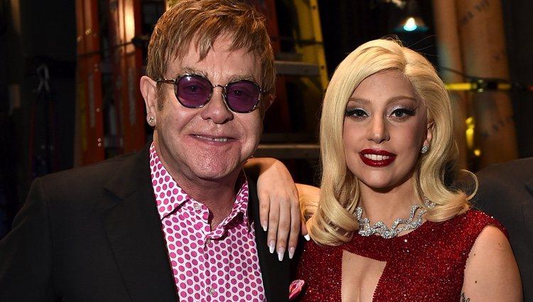 Lady Gaga y Elton John en Los Ángeles