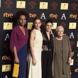 Irene Escolar, Yordanka Ariosa, Antonia Guzmán and Iraia Elías en la cena de los nominados a los Premios Goya 2016