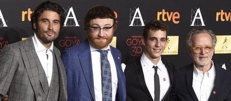 Álex García, Manuel Burque, Miguel Herrán y Fernando Colomo en la cena de los nominados a los Premios Goya 2016