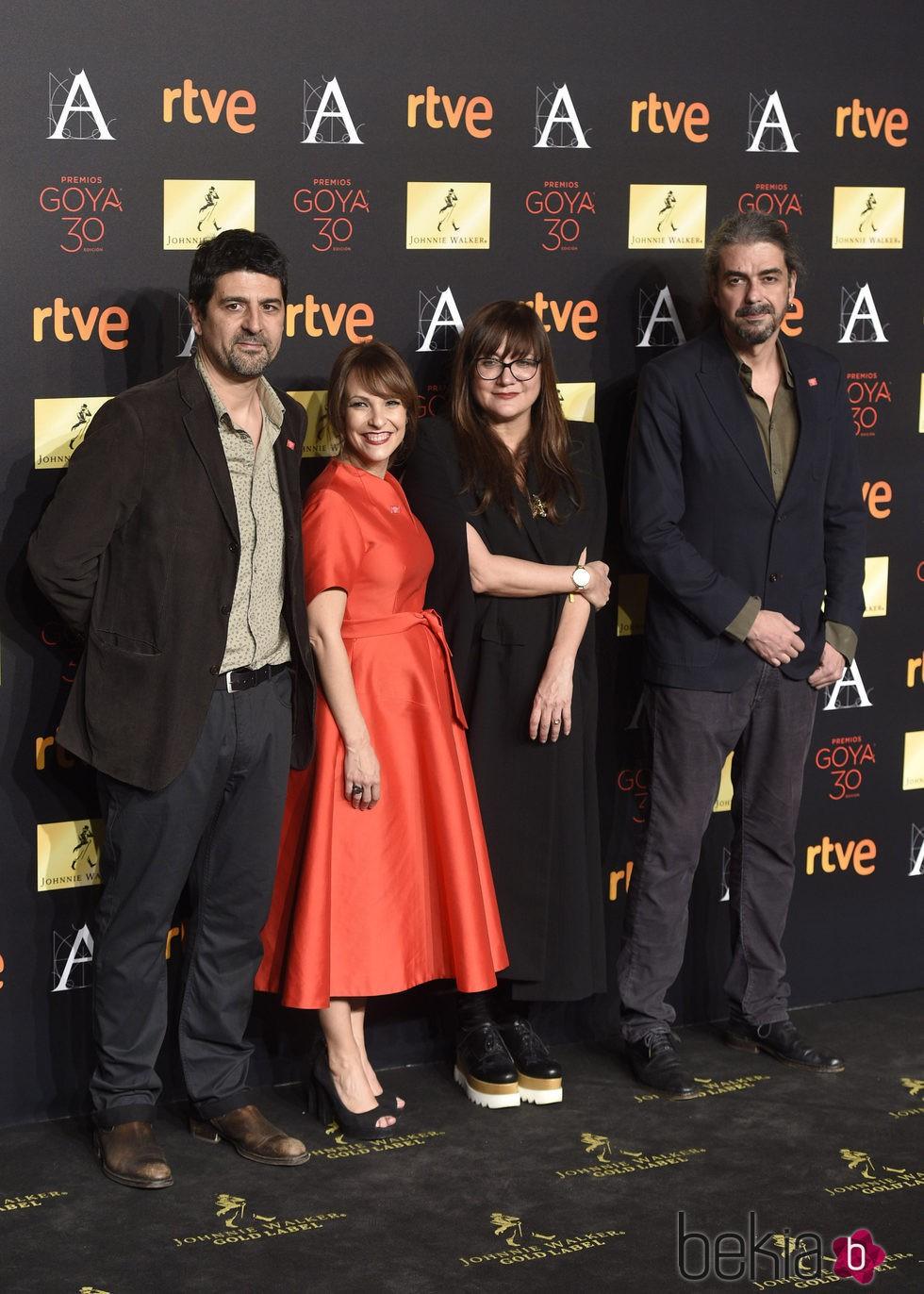 Cesc Gay, Paula Ortiz, Isabel Coixet y Fernando León de Aranoa en la cena de los nominados a los Premios Goya 2016