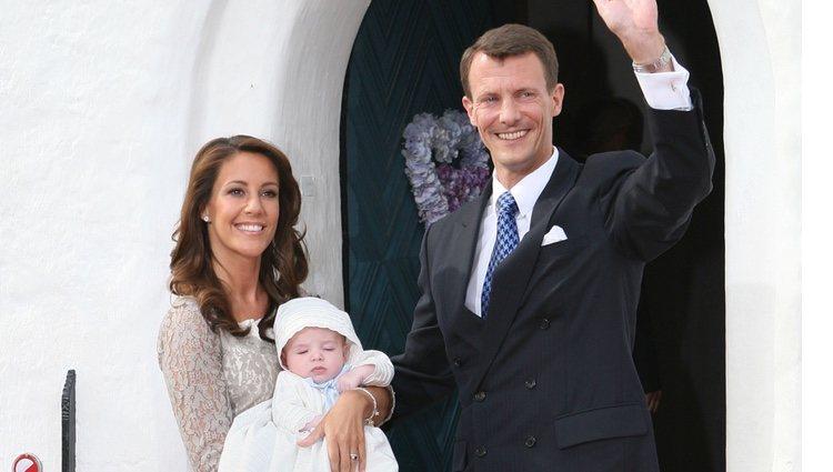 Joaquín y Marie de Dinamarca en el bautizo de su hijo Enrique