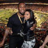 Taraji P. Henson y Kelvin Hayden en la Super Bowl 2016