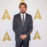 Leonardo DiCaprio en el almuerzo de los nominados a los Premios Oscar 2016