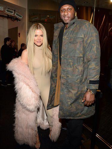 Khloe Kardashian y Lamar Odom en el desfile de Kanye West 'Yeezy Season 3'