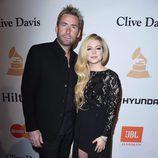 Avril Lavigne y Chad Kroeger en la fiesta Clive Davis previa a los Grammy 2016