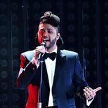 The Weeknd durante su actuación en los Premios Grammy 2016