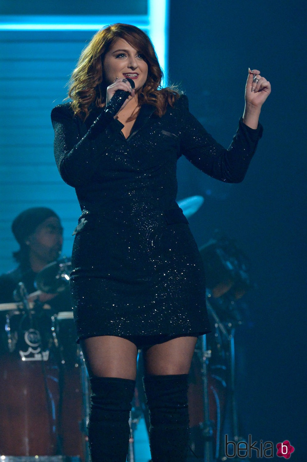 Meghan Trainor durante su actuación en los Premios Grammy 2016