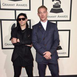 Skrillex y Diplo en la alfombra roja de los Premios Grammy 2016