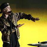 Justin Bieber en un momento de su actuación en los Premios Grammy 2016