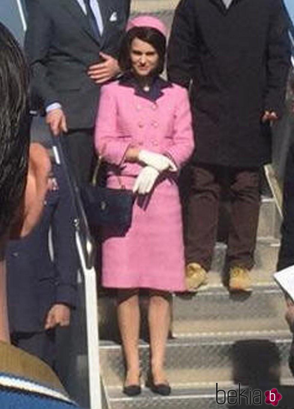 Natalie Portman durante el rodaje de la película 'Jakie' en Maryland