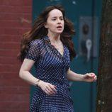 Dakota Johnson corriendo en el rodaje de 'Cincuenta sombras más oscuras'
