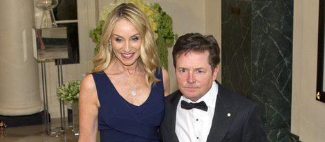 Michael J. Fox y Tracy Pollan en la cena de gala ofrecida en la Casa Blanca al Primer Ministro de Canadá