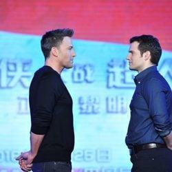 Ben Affleck y Henry Cavill en la promoción de 'Batman v Superman: La Liga de la Justicia' en China