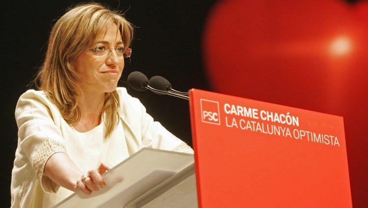 Carme Chacón durante un mitin electoral en Barcelona
