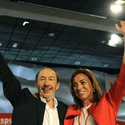 Alfredo Pérez Rubalcaba y Carme Chacón en el 38º Congreso Federal del PSOE