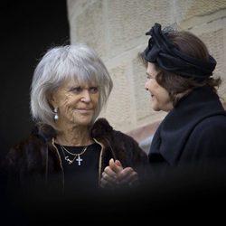 Brígida de Suecia y la Reina Silvia de Suecia en el funeral de Juan Jorge de Hohenzollern-Sigmaringen