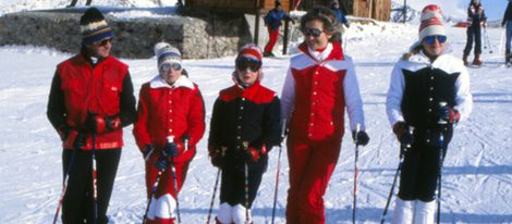 La Familia Real esquiando en Baqueira Beret en los años setenta del siglo XX