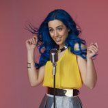 Sonia Gómez, de Sweet California, en la grabación del videoclip 'Good Lovin''