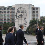 Barack Obama llegando a la plaza de la Revolución para la ceremonia de bienvenida