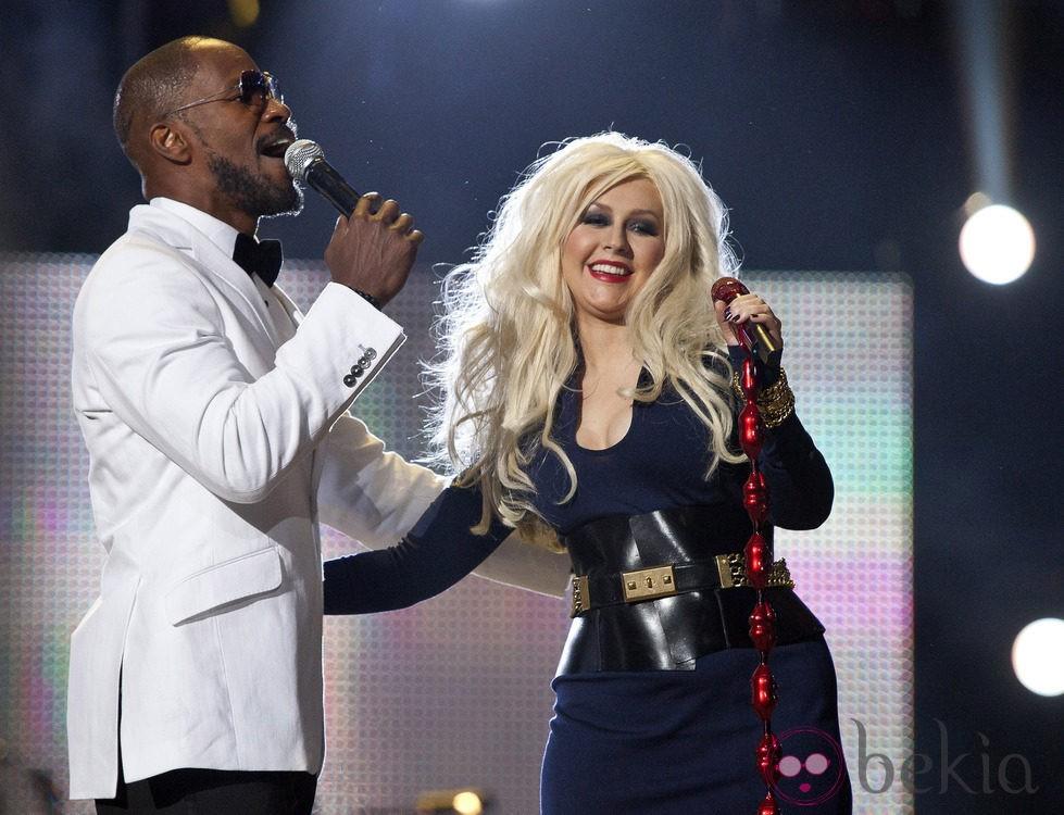 Jamie Foxx y Christina Aguilera en el concierto homenaje a Michael Jackson