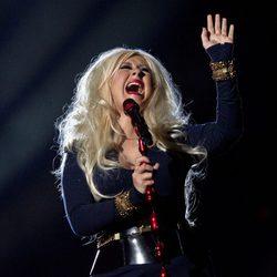 Christina Aguilera durante su actuación en el concierto homenaje a Michael Jackson