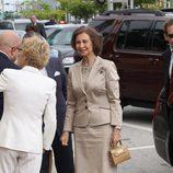 La Reina Sofía en un encuentro con la comunidad española en Miami