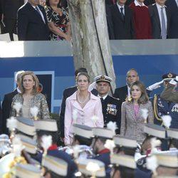 Los Duques de Palma, la Infanta Elena y los Príncipes de Asturias el Día de la Hispanidad 2011
