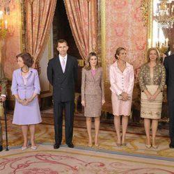 La Familia Real al completo en el Palacio Real el Día de la Hispanidad 2011