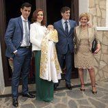 Víctor Janeiro, Beatriz Trapote, Humberto Janeiro y Carmen Bazán en el bautizo de Víctor Janeiro Jr