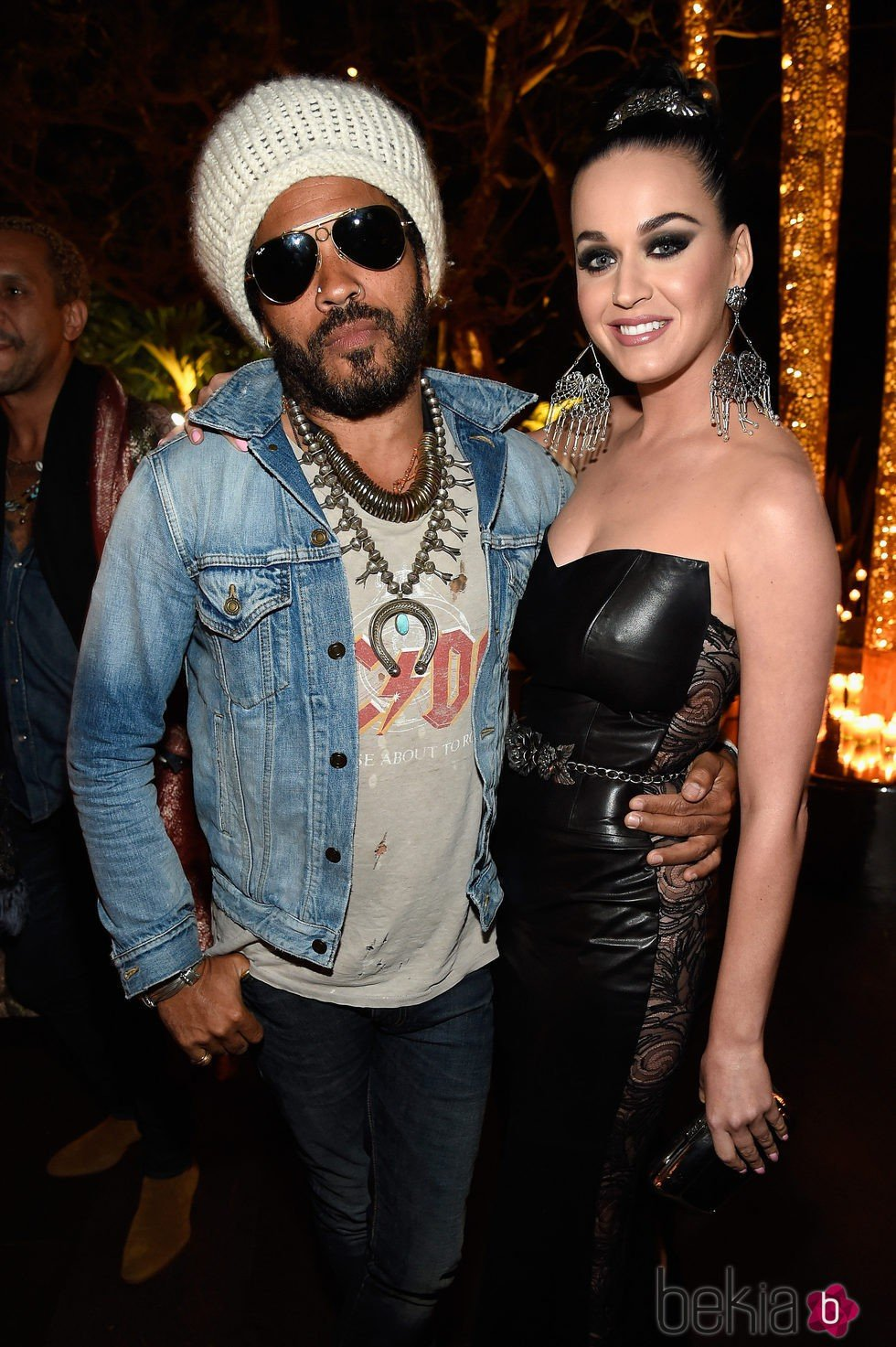 Katy Perry y Lenny Kravitz en la gala benéfica de la Fundación Parker en Los Ángeles