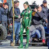 Elizabeth Banks caracterizada como 'Rita Repulsa' en el rodaje de la película 'Power Rangers'
