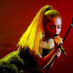 Ariana Grande durante su actuación en la fiesta organizada por la revista Time en Nueva York