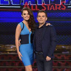 Melody y su padre Lorenzo Ruiz en la presentación de 'Levántate All Stars'