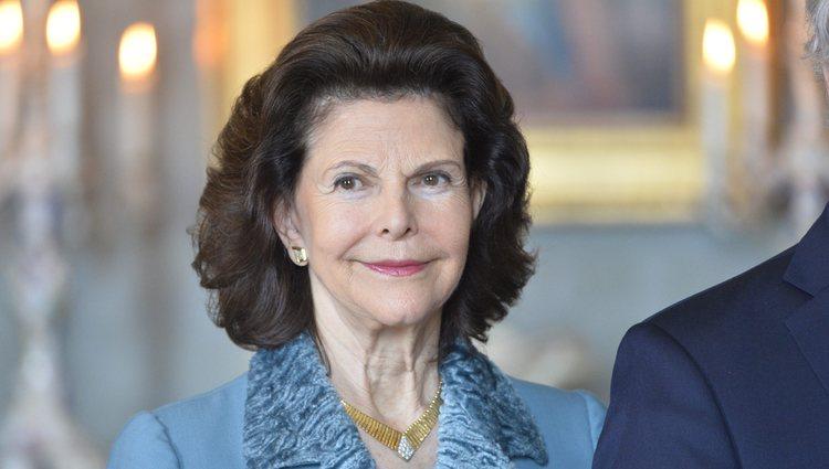 La Reina Silvia de Suecia en el 70 cumpleaños de Gustavo de Suecia