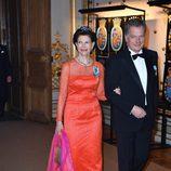 La Reina Silvia de Suecia y  Sauli Niinistö en la cena de gala en el 70 cumpleaños del Rey Gustavo de Suecia